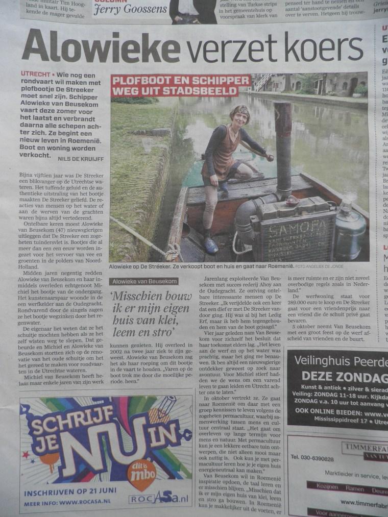 Alowieke verzet koers. Kranten artikel waarin heel kort een impressie is gegeven van wat er nu gebeurt.