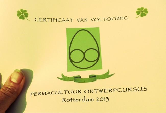 Certificaat van cursus Permacultuur