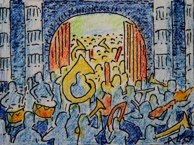 Muzikanten in de kerk, met Drakenlief