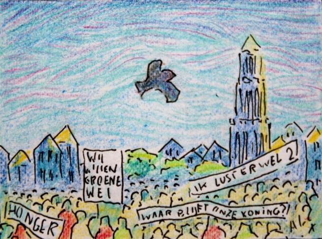 Bosuil boven menigte, met Drakenlief