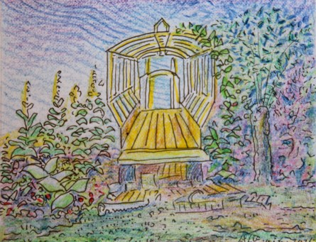 Blogtek. Open constructie in de tuin van eeuwigheid kl.frm.